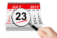 National Hot Dog Day Concept. 23 July 2017 calendar with magnifi. Er on a white background Royalty Free Stock Photos