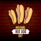 National hot dog day poster with funny cartoon hot dog. Hot dog day label or print for tee.