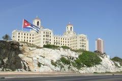 National Hotel and Cuban Flag Stock Photos
