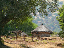 National housing in Ethiopia in the lap of nature. Landscape nat Royalty Free Stock Photo