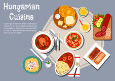 National hungarian cuisine dishes set. Traditional hungarian cuisine fried bread langos with sour cream and cheese, served with winter salami, egg noodles with Stock Photos