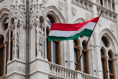 National hungarian flag waving on wind royalty free stock photos