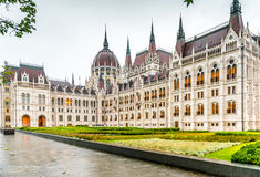 The National Hungarian Parliament building entrance. Majestic view of The National Hungarian Parliament building entrance stock image