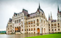 The National Hungarian Parliament building entrance. Majestic view of The National Hungarian Parliament building entrance stock photo