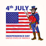 National independence day of the cowboy background Vintage Retro Clip Art. Sketch vector illustration Royalty Free Stock Images