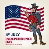 National independence day of the cowboy background Vintage Retro Clip Art. Sketch vector illustration Stock Photo