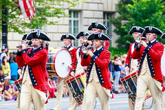 National Independence Day Parade 2015. Washinton, D.C., USA - July 4, 2015: The United States Army Old Guard Fife and Drum Corps in the annual National royalty free stock image