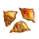 The national Indian bread samosa isolated on white background, watercolor illustration. In hand-drawn style Royalty Free Illustration