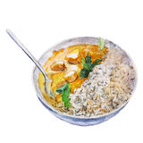 The national Indian dish rice with curry isolated on white background, watercolor illustration. The national Indian dish rice with curry isolated on white Vector Illustration