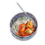 The national Indian dish rice with potato and curry isolated on white background, watercolor illustration. The national Indian dish rice with potato and curry Royalty Free Illustration