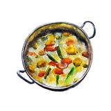 The national Indian dish vegetable korma isolated on white background, watercolor illustration. The national Indian dish vegetable korma isolated on white Stock Illustration