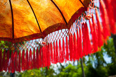 National Indonesian decoration umbrella for ceremonies. Detail, Bali Indonesia Stock Image