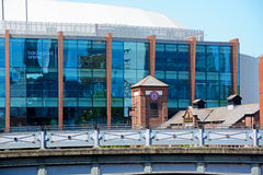 National Indoor Arena, Birmingham. View of the National Indoor Arena aka the Barclaycard Arena and the Malt House Pub at Old Turn Junction, Birmingham, England Stock Image