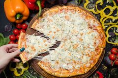 National italian meal pizza slice melted cheese. National italian meal. delicious pizza slice with melted cheese. tasty food stock image
