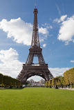 National landmark Eiffel tower in Paris France. European national landmark Eiffel tower in spring in city Paris France on the blue sky background Stock Photo