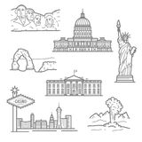 National landmarks of USA icons in thin line style Royalty Free Stock Photos