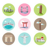 National Landmarks Vector Illustration Set in Flat Stock Photo