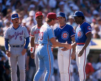 1987 National League All-Stars. 1987 National League All-Stars are introduced, Davey Johnson, Eric Davis, Ryne Sandberg, Andre Dawson and Mike Schmidt. (Image royalty free stock images