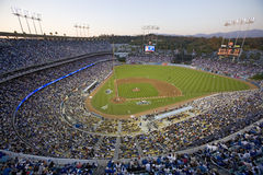 National League Championship Series. Grandstands overlooking home plate at National League Championship Series (NLCS), Dodger Stadium, Los Angeles, CA on October stock photo