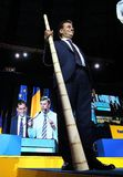 National Liberal Party elections - Romania. Bucharest, Romania - June 17, 2018: Ludovic Orban, holding in the hand a Romanian type of alphorn named tulnic, is stock images