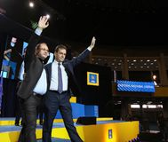 National Liberal Party elections - Romania. Bucharest, Romania - June 17, 2018: Ludovic Orban (R) enjoys together with Cristian Busoi (L) after was elected royalty free stock photo