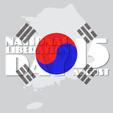 National Liberation Day, vector illustration of South Korea Map Royalty Free Stock Photography