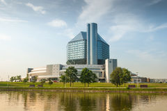National Library of Belarus. Modern whole glass building Stock Images