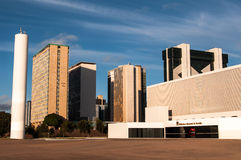 National Library of Brasilia and Business Buildings Royalty Free Stock Photos