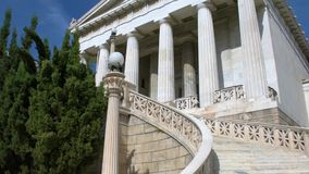 National Library of Greece in Athens. Tilting view of the National Library of Greece in Athens stock video