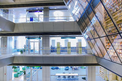 National library of Latvia. LATVIA. RIGA, JANUARY, 15, 2015 - Internal architecture of the new national public library in Riga, Latvia. It is among the greatest stock image