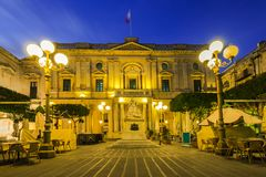 National Library of Malta,illuminated at evening.  Stock Images