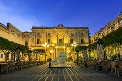 National Library of Malta,illuminated at evening. European Culture Capital Royalty Free Stock Photo