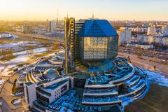 National library in Minsk aerial. Popular tourist attraction in capital of Belarus stock images