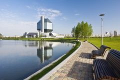 National library. Minsk. Belarus. View on library. National library. Minsk. Belarus. A general view from lake Stock Photography