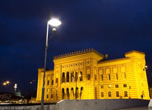 National Library. At night, Sarajevo, Bosnia and Herzegovina royalty free stock photo