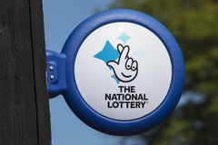 The National Lottery Sign. ARUNDEL, UK - May 5th 2018: Close-up of The National lottery Sign, on display outside a newsagents in the town of Arundel in West royalty free stock images