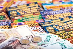 National lottery tickets and Bulgarian money Stock Images