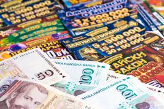 National lottery tickets and Bulgarian money Stock Photo