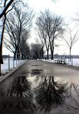 National mall on a snow day. Beautiful morning be outside with great reflections in Washington, D.C Royalty Free Stock Photo