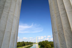 National Mall in Washington DC. National Mall and Washington Monument from Lincoln Memorial in Washington, DC Stock Photos