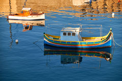 National maltese bout luzzu in malta bay between Birgu and Kalka. Ra at morning time Stock Photography