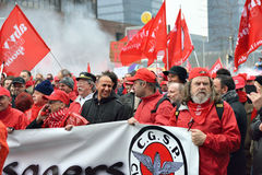 National manifestation against austerity in Belgium Royalty Free Stock Photo