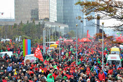 National manifestation against austerity in Belgium Royalty Free Stock Photos