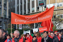 National manifestation against austerity measures in Belgium Royalty Free Stock Photos