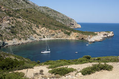 National Marine Park of Alonnisos, Kyra Panagia ba. The islet of Kyra Panagia is close to Alonissos, It is a small, uninhabited island with two natural harbours Royalty Free Stock Image