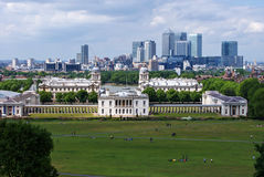 National maritime museum and Canary Wharf in Greenwich, London. Stock Photos