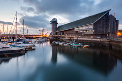 National maritime museum. Dawn at Discovery Quay with the National Maritime Museum Falmouth in the background Stock Photography