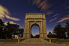 The National Memorial Arch at Night. Starlight just before sunrise at Valley Forge National Historical Park in Pennsylvania USA.The National Memorial Arch is a Stock Photo