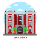 National military or science academy facade. National military or science academy for secondary or higher education or study facade of building with columns and Stock Photos