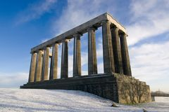 The National Monument on Calton Hill in winter, Edinburgh, Scotland royalty free stock image